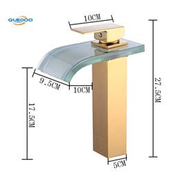 torneiras de vidro preto Desconto Cachoeira vidro bico Black Gold Terminou Bacia Sink torneiras misturadoras Deck Montado Latão Torneira