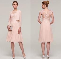 Perle rosa mutter braut kleider online-Pearl Pink A-Linie Elegante knielangen Chiffon Mutter der Braut Kleid mit Jacke Applique Formal Wedding Guest Kleid Abendgarderobe