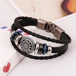sterling silber button armbänder Rabatt 19 arten Handmade Boho Gypsy Hippie Braun Weiß Leder Stern Metall Charme Hämatit Button Perlen Wrap Unisex Hummer Armband
