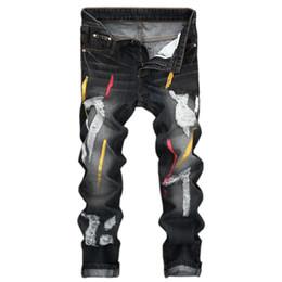 Pantalon de travail vintage en Ligne-Jeans de trou Vintage Denim Folds Wash Work effiloché imprimé pantalon de base à glissière W316