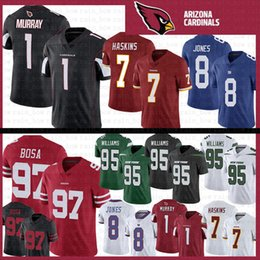 maillots de football san Promotion 1 Kyler Murray 97 Nick Bosa 8 Daniel Jones Cardinals de Jersey de l'Arizona 95 Quinnen Williams San Francisco New York Gaints Jets 49ers 7 Haskins