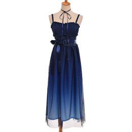 2019 marineblaue hosenträger Sweet Fairy Lolita Kleid Sommer Navy Blue Starry Farbverlauf JSK Hosenträger Mesh Cute Dresses rabatt marineblaue hosenträger