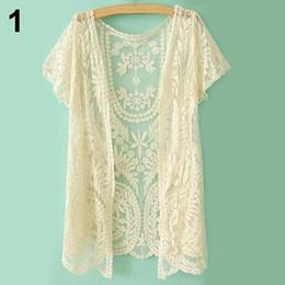 bordado floral encaje crochet camisa Rebajas Camisa hueca para mujer Bordado de encaje Floral Crochet Manga corta Cardigan prendas de punto
