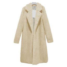 2019 vestidos de lã de trabalho de lã Mulheres de inverno Quente Casaco Longo Mulher Faux Lambswool Manga Comprida Solta Engrosse Casaco de Lã Feminino
