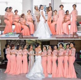 vestidos de dama de honor en colores pastel mangas Rebajas Nigeria África más el tamaño de vestidos de dama de 2019 Coral La mitad de manga larga tapa del cordón del tren del barrido de la criada de vestidos de noche baratos Ocasiones honor