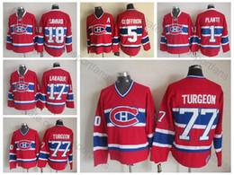 Camisetas canadienses baratos online-De calidad superior Vintage # 77 Pierre Turgeon Jerseys Mens Home Red Montreal Canadiens Pierre Turgeon Hockey Jerseys camisas cosidas baratos