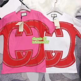 le donne t-shirt strass Sconti T-shirt a manica corta da donna con lettere bicolore T-shirt bicolore a maniche lunghe da donna personalizzata Tee 19