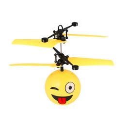 flash led infrarrojo Rebajas Expresión interesante LED intermitente infrarrojo helicóptero de inducción Flying Ball Flash Disco RC emoji Magic DIY Bola de la etapa de la lámpara Juguetes para niños