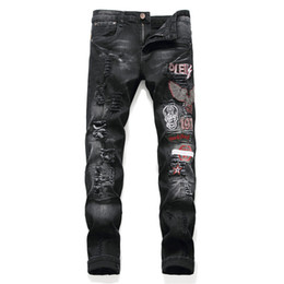 bikers patch Coupons - Wholesale slp blue black destroyed mens slim denim straight biker skinny jeans Casual Long men ripped jeans Size 29-38 free shipping