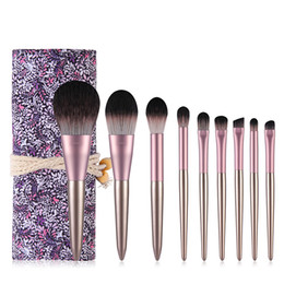 pinceles de maquillaje kabuki set Rebajas Maquillaje 9Pcs uva sistema de cepillo de Kabuki se ruboriza polvo sombra de ojos cepillo del sistema de herramientas completo de belleza cosméticos