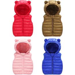 Giubbotto per bambini online-0-4 anni neonate ragazzi giubbotto in cotone leggero per bambini vestiti per bambini neonati gilet caldo invernale top