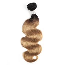 Cheveux à deux tons en Ligne-Brésiliens Body Wave Weave Bundles 1B / 27 Ombre Miel Blonde Deux Tons 1 Bundles 10-24 pouces Péruvien Extensions de Cheveux Humains Malaisiens