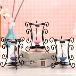 peças de ferro decorativas Desconto Bronze Pequeno Ferro Armação Hourglass 3 Cores de Aço Inoxidável Ampulheta Desktop Ornamento Decorativo 10 Peças DHL