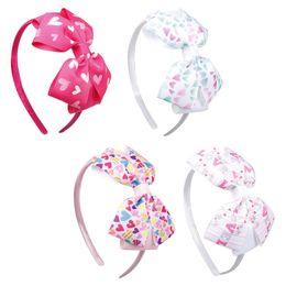 Valentine haare online-DIY Valentinstag Stirnbänder Print Herz LIEBE Rosa Haarbänder Für Mädchen Haarschmuck Bogen Kopfband Für Kinder