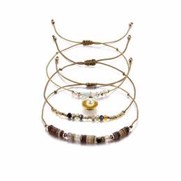 Рисовые раковины онлайн-Transmit love 3pcs/lot Bracelet for woman Brown Multilayer Rice  Bracelet Pearl Shell Pendant Crystal Jewelry