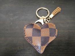 Tassel chaveiro ouro on-line-Amoroso Coração Chaveiro de Couro Borla Titular da Chave de Ouro de Metal Chaveiro de Cristal Chaveiro Charme Bag Auto Presente Preço de Atacado