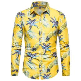 Estilo hawaiano floral para hombre camisas de vestir camisa de manga larga para los hombres de ocio playa blusa hombres nuevo amarillo desde fabricantes