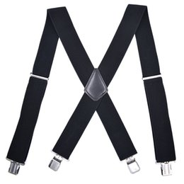 Mens braces clips online-Bretelle Uomo 5cm Wide Adjustable Clip-On X- Back Elastico Nero Rosso Grigio Heavy Duty Bretelle Bretelle Mens