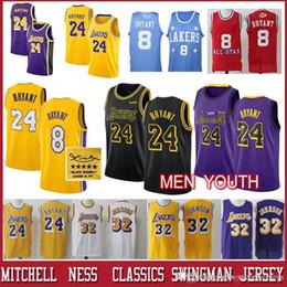 89abcb95bb0 Men Los Angeles Retro Laker 24 Bryant Kobe jersey Earvin 32 Johnson youth  Yellow red star 8 kebo Basketball Jerseys
