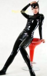 trajes femininos cômicos Desconto Marca preto PVC Faux Leather Latex Olhar Molhado Bodysuit Noite Prowler Catwoman Sexy Catsuit Halloween Cosplay