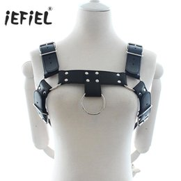 mens harnesses Promo Codes - iEFiEL Update Mens Adult Black PU Leather Adjustable Chest Half Harness Belts Male Adults Sex Inside and Outside Party Style