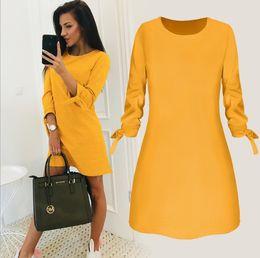 Modes robes en Ligne-Lente Nouvelle Mode Effen Kleur Jurk Casual Col Rond Manches 3/4 Elegante Robes Vrouwelijke Vestidos