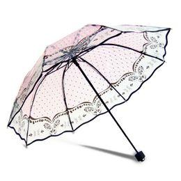 cuchillos de apoyo Rebajas Paraguas Lluvia Mujeres Transparente Espesar Tres plegables Publicidad Paraguas Prop Sol y Lluvia Parasol 50Ry110