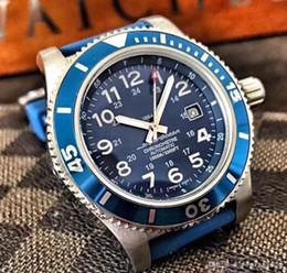 montres bleues pour hommes Promotion Montre de luxe de haute qualité mouvement automatique 43MM bleu visage 316L bracelet en acier saphir de haute qualité original
