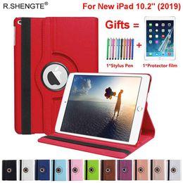 capas de ipad da prova da criança Desconto Para iPad 10.2 2019 Caso 360 Rotating Levante Smart Cover para iPad 7ª Geração '' A2200 A2197 A2198 A2232 Caso 10.2 Com Stylus Pen + Film