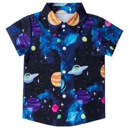 2020 vestiti divertenti del neonato Funny Space Galaxy Kids Baby Boys Camicie Casual Camisa Masculina Camicette Fiori Stampa Beach Capispalla Ragazzi Abiti per bambini sconti vestiti divertenti del neonato