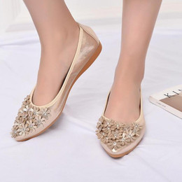 11982a910123 Gold Silver Crystal Floral Flat Ballet Shoes Women Summer Comfortable  Breathable Rhinestone Flats Single Shoes