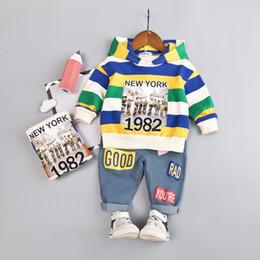 meninos listrado camiseta Desconto Conjuntos de roupas de bebê primavera outono criança treino New York 1982 crianças meninos meninas roupas crianças algodão hoodies calças 2 pçs / conjuntos