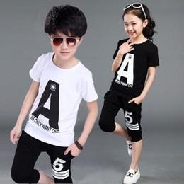 Korean roupas de bebê marcas on-line-Roupas de Bebé de verão Coreano Marca Anchor Impressão de Manga Curta T-shirt Tops + Calças Meninos Outfits Kid Bebes Jogging Ternos