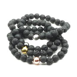 Natursteine armbänder bälle online-Hämatit Kugel 8 MM Natürliche Schwarze Lava Stein Perlen Armband Vulkan DIY Ätherisches Öl Diffusor Armband Schmuck