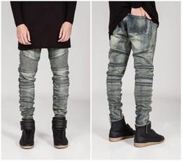 Jeans grigio sottile online-Jeans da uomo Biker Jeans Slim Fit lavato giallo Nero Grigio Blu Moto Denim skinny pantaloni elasticizzati Jogging per uomo jeans