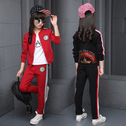children sport tracksuit sets suits Promo Codes - Children Clothing Sets Cotton Autumn Red Sports Suits For 5 6 7 8 9 10 11 12 Years Old Girls Sportswear Casual Dark Tracksuits