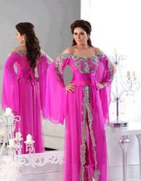 2019 vestido correa de espagueti rosa caliente Árabe Dubai Hot Pink Vestidos de noche Correas de espagueti Caftan Vestidos de noche formales Frente abierto con cuentas Mangas largas Vestido de fiesta Robe de Soiree vestido correa de espagueti rosa caliente baratos