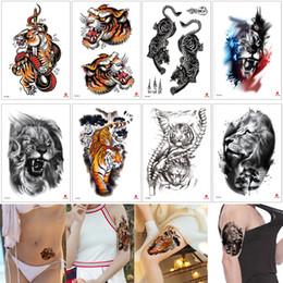 2019 tatuagens à prova de água Roar Tigre Tatuagem Temporária Moda À Prova D 'Água Falso Braço Manga Perna Para Trás Da Arte Do Corpo de Transferência Da Água Do Tatuagem Etiqueta para o Sexo Masculino Feminino Pele Capa 3D tatuagens à prova de água barato