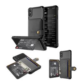 Porte-carte de visite en Ligne-Portefeuille de téléphone de portefeuille de porte-cartes d'aimant d'affaires de luxe pour iPhone 6 7 8 / X / Xs / Xr / XS Max
