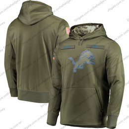 Sudadera con capucha león online-Sudadera para hombre de Detroit Sudadera con capucha Lions 2018 Olive Holute to Service Sideline Therma Performance sudadera con capucha S-3XL