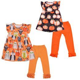 Fantasma corto online-Conjunto de ropa de Halloween para niñas, manga corta, dibujos animados, calabaza, búho fantasma, top estampado, ropa de diseñador para niños, pantalones de encaje sólido para niñas, traje 0-9T 04