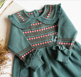 vintage summer dress designs Promo Codes - kids Girl designer clothes Dress Autumn Winter Knitted Long Sleeve Vintage Grren Ruffles Princess Design Dress Princess Girl Clothing Dress