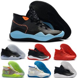 8b5ab722adb7 Cheap Mens kd 12 basketball shoes Warriors Home White Blue new boys girls  kids kd12 kevin durant xii sneakers tennis size 5.5-12 discount boys kd  shoes