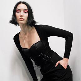 Milho americano on-line-2019 europeus e americanos estilo novo sexy calos bandage gancho flor oco cordão buraco irregular barriga manga comprida T-shirt das mulheres camisa