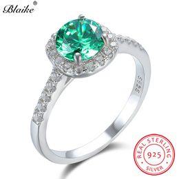 Anel de rubi verde on-line-Sólido s925 Sterling Silver Rings For Women Wedding Bands rubi vermelho esmeralda verde de pedra promessa anel de noivado Zircon Jóias Cz