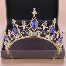 Diadème couronne en Ligne-Or Femmes Bijoux De Cheveux Bleu Cristal Strass Diadèmes Cru Diadèmes Et Couronnes Reine Princesse Accessoires De Cheveux De Mariage Cadeaux