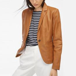 Moda Marka Deri Ceket Kadınlar 2019 Yeni Varış Bahar Takım Elbise Yaka Tek Düğme Ofis Faux Deri Bayan Ceketler Coat nereden