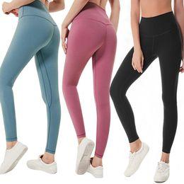 quadril de mulher de beleza Desconto Lululemon-32 Cor Sólida Mulheres calças de yoga Cintura Alta Esportes Ginásio Desgaste Leggings de Fitness Elástica Senhora geral Collants Completos Workout