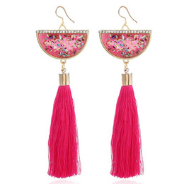 pink gemstones earrings Promo Codes - Natural Shell Semi-circle Glitter Gemstone Fringed Earrings Dangle & Chandelier Crystal Mosaic Colorful Pink Green Black Tassel Earring