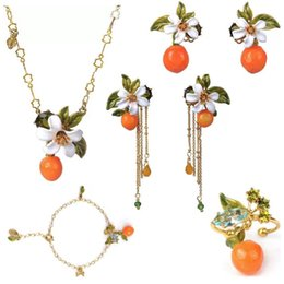 2019 Amybaby Original Orange Blossom Leaves Crystal Stone Womens Nappe Orecchini Smalto Smalto Gioielli Per Feste da